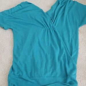 Teal blouse with short sleeves
